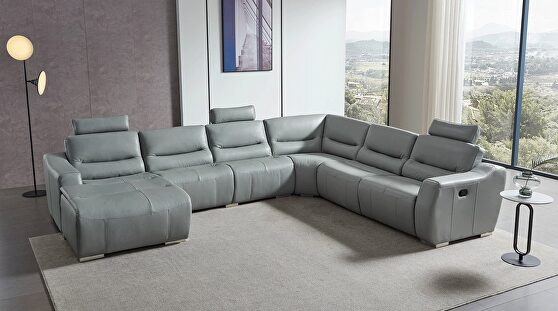 Gray full leather quality sectional sofa