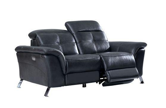 Dark gray leather loveseat w/ adjustable headrests