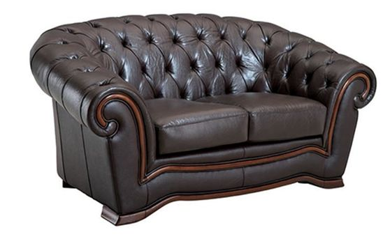 Brown leather tufted buttons design loveseat