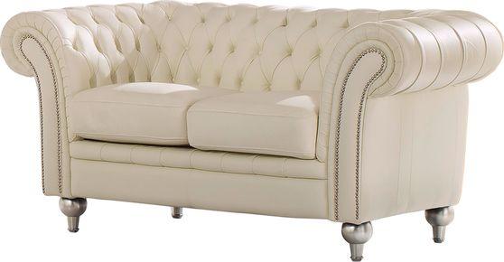 Modern tufted design beige half-leather loveseat