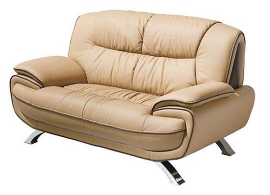 Modern leather match loveseat in light brown