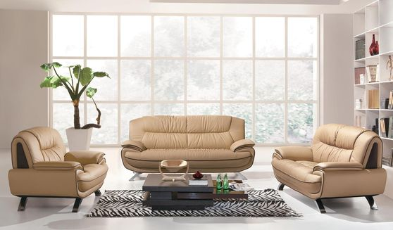 Modern leather match sofa in light brown