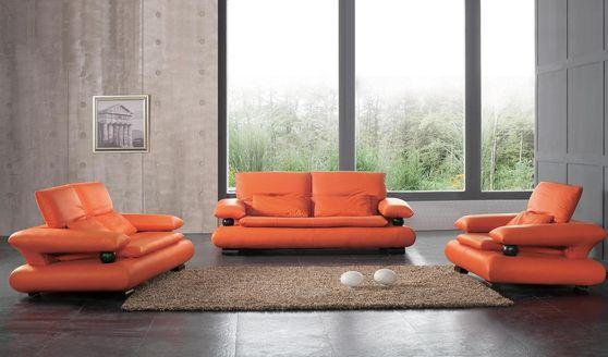 Designer orange leather 3pcs living room set