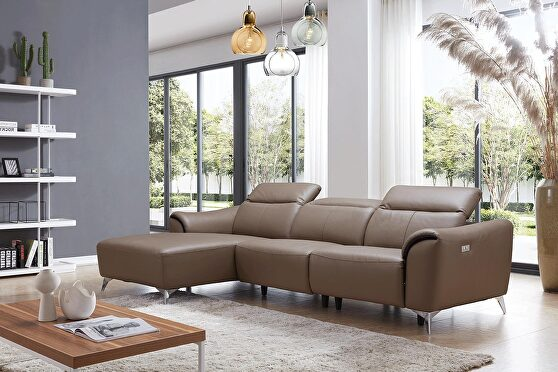 Chocolate brown adjustable headrest sectional w/ recliner