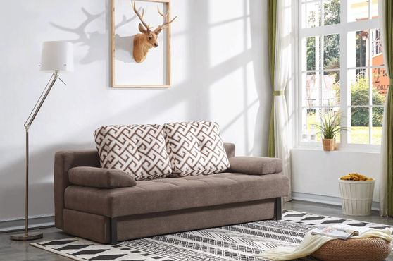 Dark brown sofa bed in tender brown fabric
