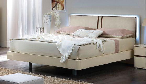 Beige color king modern bed w/ light in headboard
