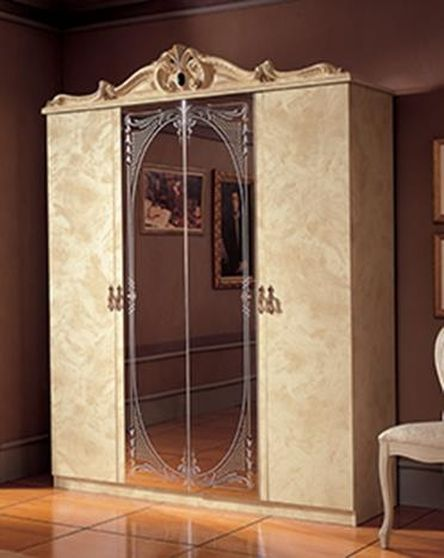 Classical style ivory 4dr wardrobe