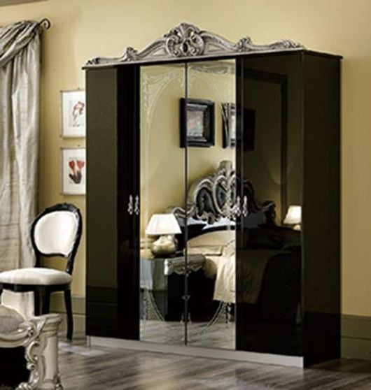 Classical style black/silver 4dr wardrobe