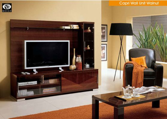 Walnut glossy modern TV Stand