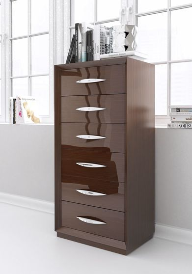 Walnut high-gloss lacquer Spain-made chest