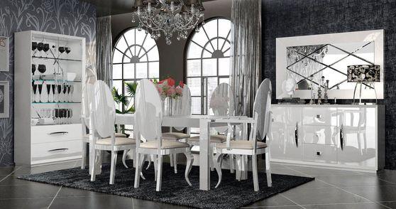 European high-gloss oversized family dining in white