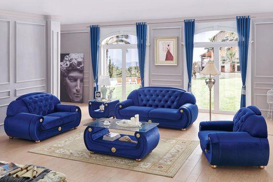 Full blue fabric tufted backs 3pcs set