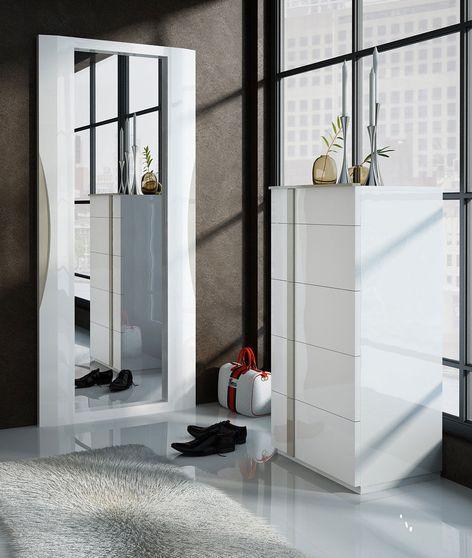 Modern designer chest in white high gloss