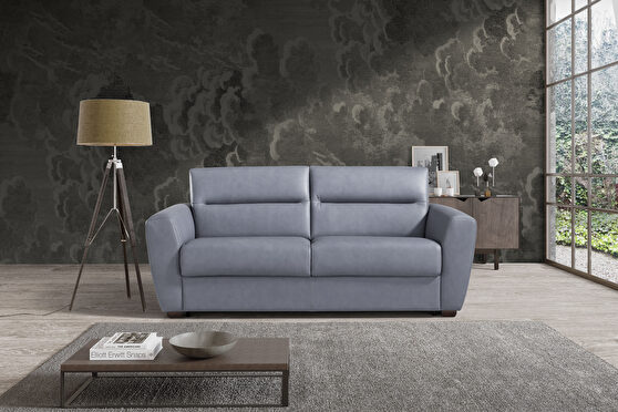 Modern sofa bed / sofa in blue leather