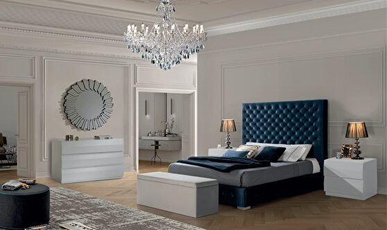 Blue fabric high headboard king size bed