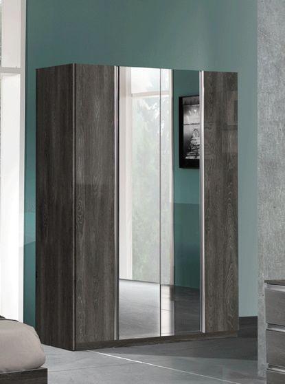 Gray modern wood / metal simple wardrobe