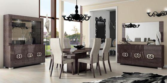 Modern tan/gray high gloss family size dining