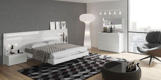 Spanish-made ultra-modern white high-gloss bed