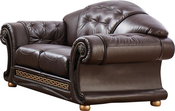 Brown royal style tufted button design leather loveseat