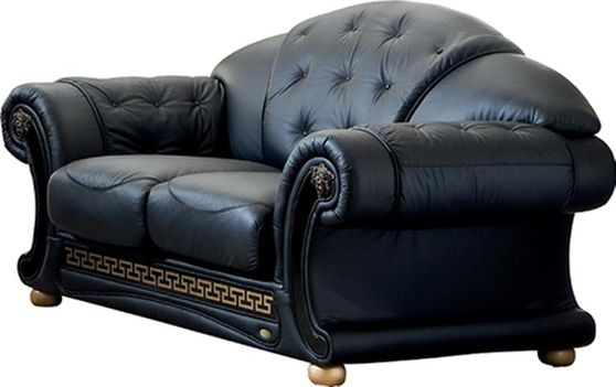 Black royal style tufted button design leather loveseat