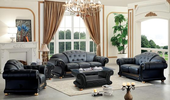 Black royal style tufted button design leather sofa