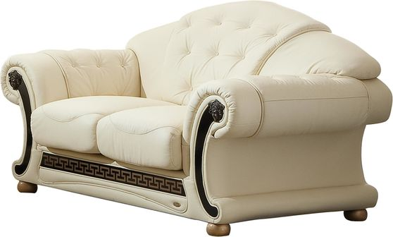 Ivory royal style tufted button design leather loveseat
