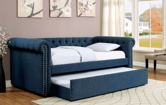 Tufted dark teal fabric daybed w/ trundle