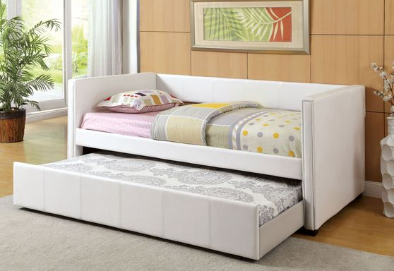 White casual style day bed w/ trundle