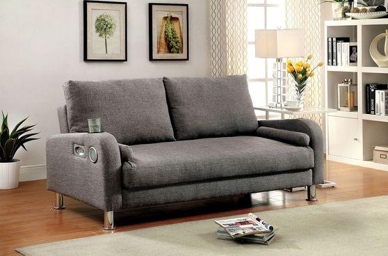 Gray linen fabric sofa bed w/ built-in speakers