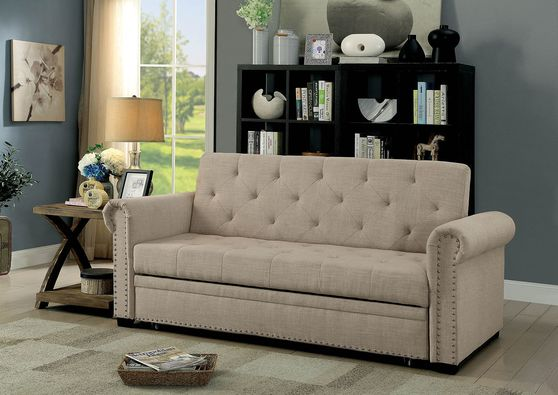Beige fabric tufted back sleeper sofa