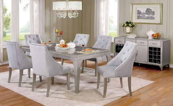 Silver finish / mirror inserts family size table