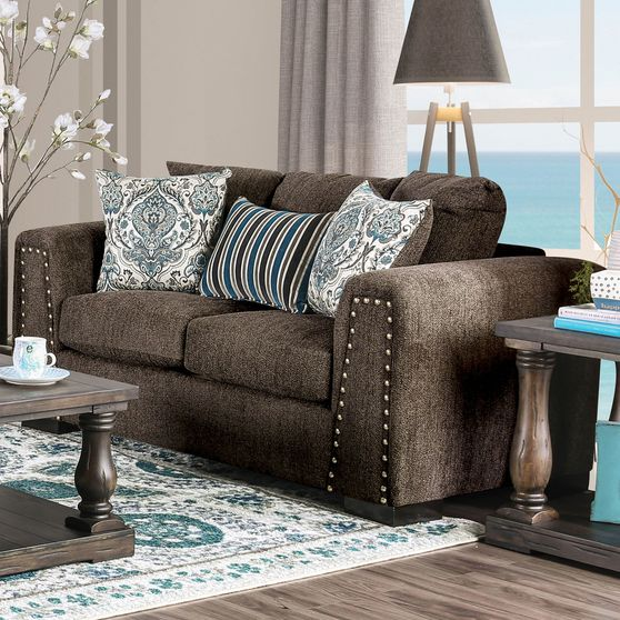 Casual linen-like fabric living room loveseat