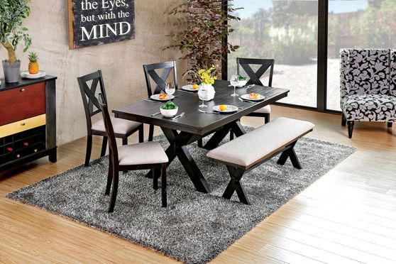 Black finish transitional style dining table