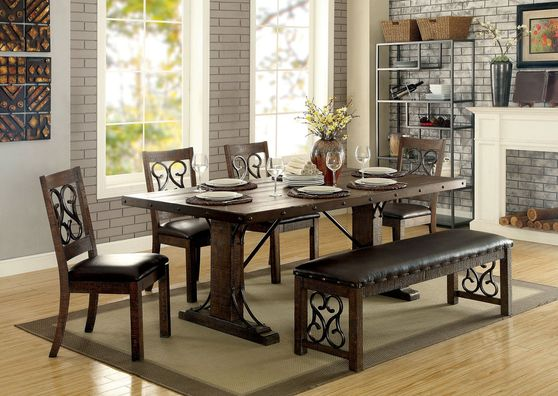 Family size dining in rustic walnut finish
