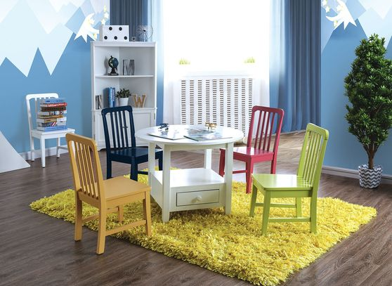 Round kids table set with multicolor chairs