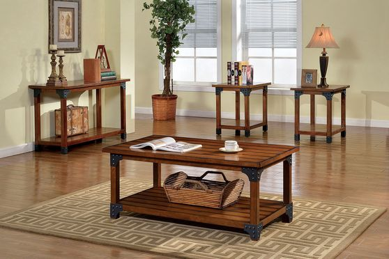 Country style oak finish 3pcs coffee table set
