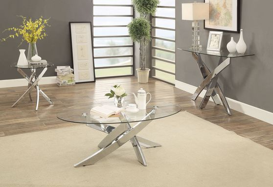 Criss cross base table w/ glass top
