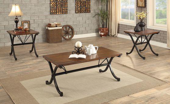 Dark oak / metal legs 3pcs coffee table set