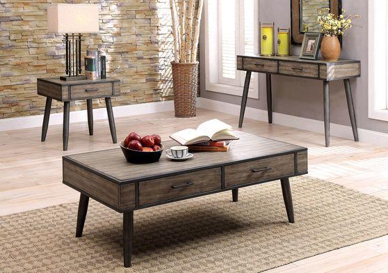 Gray finish / metal frame mid-centrury design coffee table