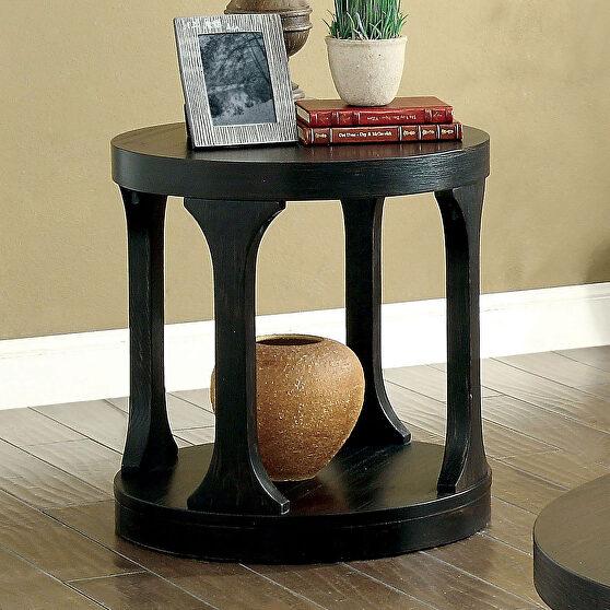 Antique black round shape end table