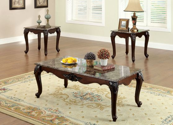 Faux marble top 3pc coffee table set