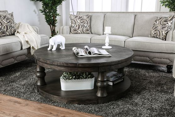 Antique gray solid wood round coffee table