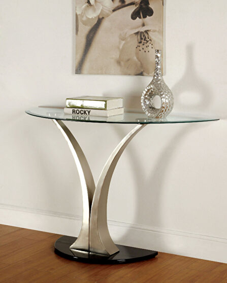 Bevelled glass top modern sofa table