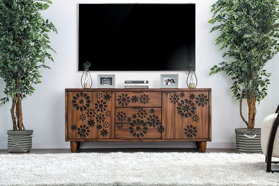 Floral pattern solid natural wood TV Stand