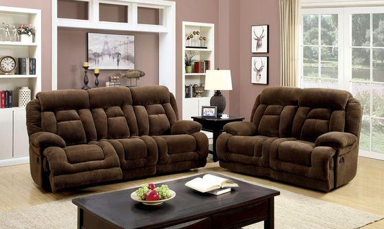 Power-assist brown fabric recliner sofa