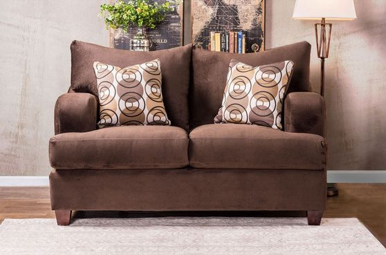 Choclate fabric casual style living room loveseat
