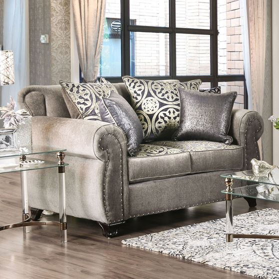 Glam style rolled arms gray / metallic linen loveseat