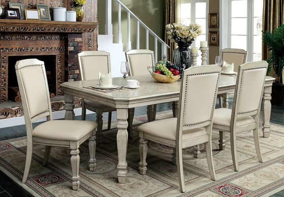 Antique white family size dining table w/ extensions