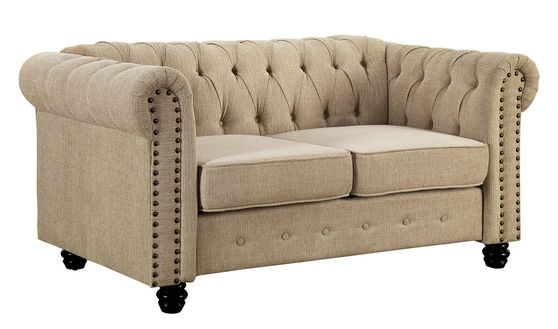 Ivory linen like fabric tufted style loveseat