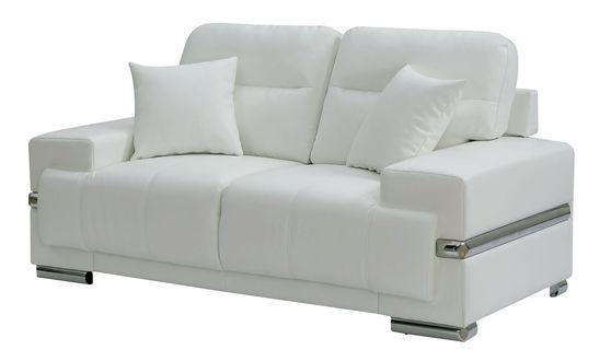 Contemporary white leatherette silver trim loveseat